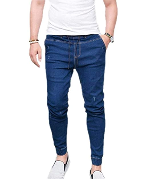 1ad23b4b9 Pantalones De Los Hombres Cintura Elástica Cordón Slim Fit con Jeans Skiny  Bule Pantalones De Mezclilla Gris Pantalones De Mezclilla Pantalones  Casuales  ...