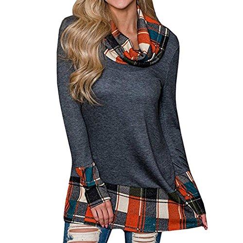 7287ab8603a15 MOONHOUSE Women Turtleneck Cowl Neck Tops Plaid Patchwork Shirts Tunic Long  Sleeve Sweatshirt Pullover