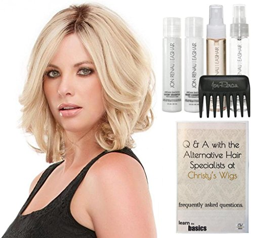 Bundle - 7 items: Jon Renau Carrie Elite Human Hair Wig, 15 Page Christy's Wigs Q & A Booklet, Luxury Shampoo & Conditioner, Heat Treat Thermal Spray, Smooth Treatment Mist, & Wide Tooth Comb (Color: 4RN) by Jon Renau & Christy's Wigs
