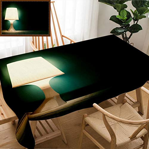 (Skocici Unique Custom Design Cotton and Linen Blend Tablecloth Lamp Night Light in A Dark Background Vintage Effect Style Picture Minimal ConceptTablecovers for Rectangle Tables, 70
