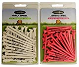 Golf Tees Combo Pack of Long Lasting Plastic Tees (25 Count White 3-1/4'' + 30 Count Pink 2-3/4'') His & Hers Gift Set From GuaranTees, USA Made