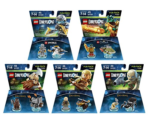 Lego Racers Ring (The Lord Of The Rings Legolas Gimli Gollum + Ninjago Zane + The Legend Of Chima Cragger fun packs - LEGO Dimensions - Not Machine Specific)