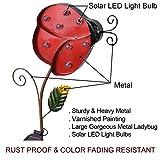 "Bright Zeal 10"" Big Metal Ladybug Solar Lights Yard"