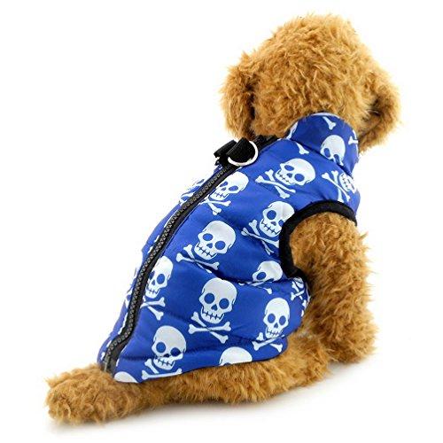 (SELMAI Dog Harness Vest Skull Dog Coat Pattern Small Puppy Clothes Blue XL)
