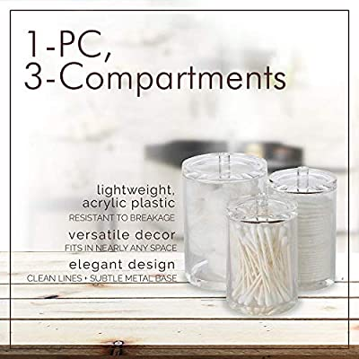 ARAD Cotton Ball, Swab, and Q-tip Storage Set, 1-Piece, 3-Compartments, for Easy Organization on Bathroom Counters, Under Sink Placement, or Vanity Tables