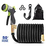 50ft Garden Hose - Expandable Water Hose with 8 Function Metal Spray Nozzle for Car, Pet Shower, Lawn, 3/4 Solid Brass Fittings,Extra Strength Fabric Flexible Expanding Hose,Free Storage Bag + Hanger