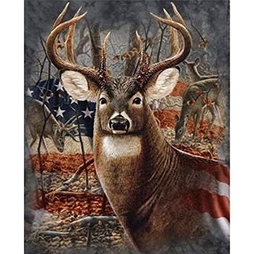 YOMIA Deer Cross Stitch Patterns 5D DIY Crystal Diamond Painting Stitch Kit, American Flag Pictures Rhinestone Diamond Chinese Embroidery Decorating Wall ()