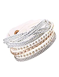 Multi Strap Slake Studded Crystal Encrusted Strand Swarovski Elements White Suede Adjustable Strap Double Wrap Bracelet