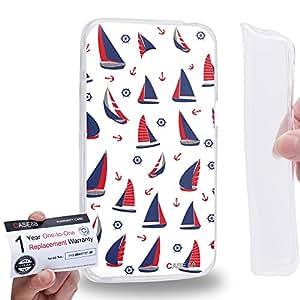 Case88 [Asus Zenfone 4 A400CG] Gel TPU Carcasa/Funda & Tarjeta de garantía - Art Nautical Prints Boat and Anchors Nautical Symbols Art1624