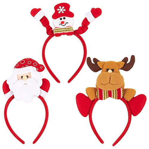 3-Pack Christmas Headbands - Holiday Headband Set, Plastic Novelty Christmas Accessories for Parties, Family Gatherings,3 Assorted Designs, Red -