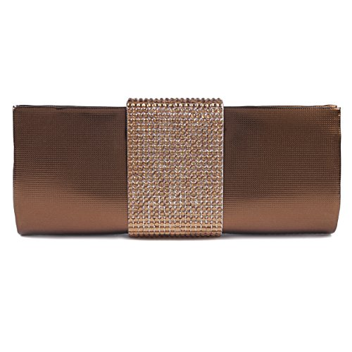 Clutch Large Womens Handbag Pleated Evening Crystal Front Champagne Bag Damara OqSZw