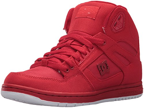 DC Women's Pure High-Top TX SE Skate Shoe, Red/Red/Red, 8 B (Red Skateboard Shoe)