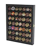 Display Case Poker Chip Box Cabinet Military Challenge Coin Glass Door