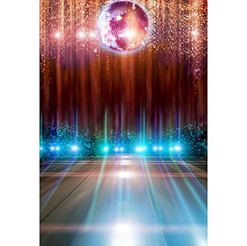 Leyiyi Disco Party Stage Backdrop 5x7ftPhotography Backdrop Sparkling Nightclub Spotlight Virtual Halo Sparkling Defocus Spots Red Curtain Satge Performance 70s 80s 90s Theme Dance Hall Backdrop ()