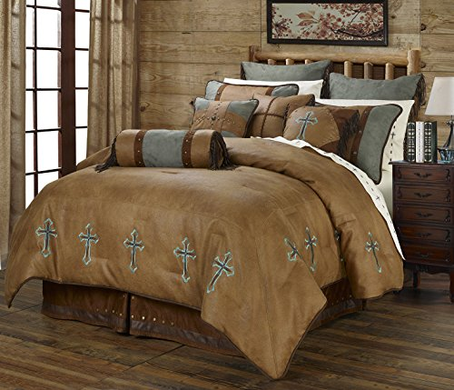 Turquoise Cross Western 5 Piece Super King Comforter Bedding Set Includes: (1 Comforter, 2 Pillow Shams, 1 Bedskirt, 1 Neckroll Pillow) - SAVE BIG ON BUNDLING!