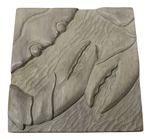 Time Warner Crab Carved Wood Two Dimensional Gray Washed ...