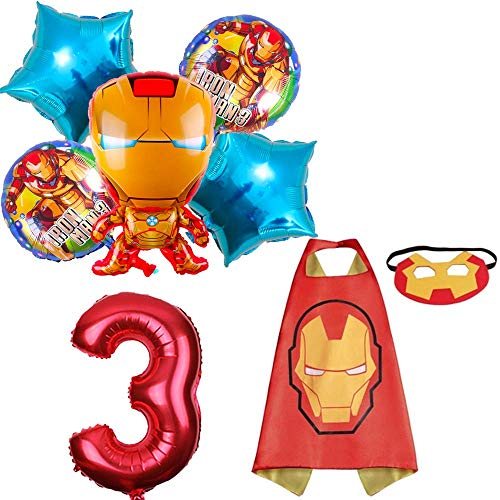 CuteTrees Super Hero Iron Man 3rd birthday party balloons party supplies party decoration birthday decorations and super hero cape and felt mask and number balloons 8 pcs]()