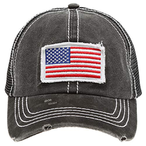 MIRMARU Women's Baseball Caps Distressed Vintage Patch Washed Cotton Low Profile Embroidered Mesh Snapback Trucker Hat (USA Flag, Black)