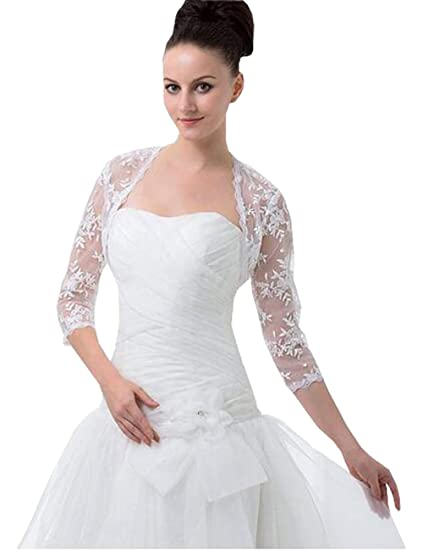 Lace Jackets for Evening Dresses 3/4 Long Sleeve Jacket Plus Size ...