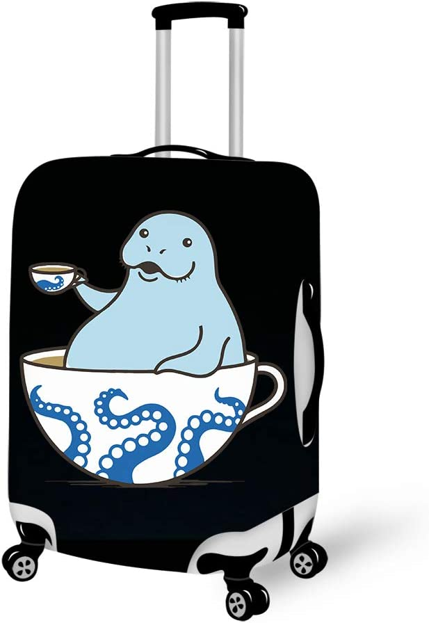 Coffee Sea Manatee 18-21 inch Travel Luggage Cover Spandex Suitcase Protector Washable Baggage Covers