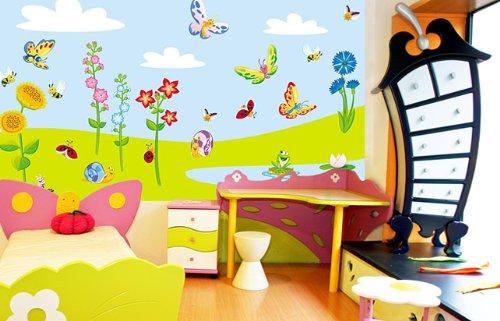 WIESE XXL SET (210 cm x 100 cm) Wandsticker, Wandaufkleber für Baby ...