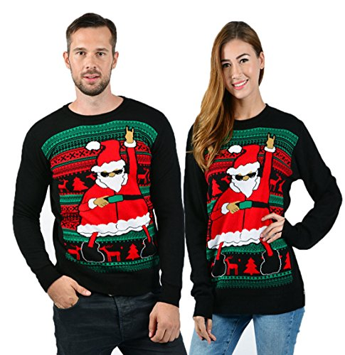 uideazone Men Women Funny Dabbing Santa Ugly Christmas Party Knitted Sweater, Black 8, (Matching Christmas Sweaters)