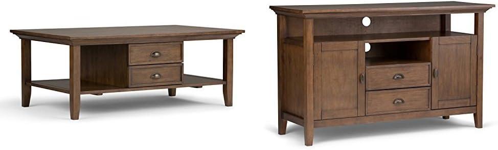 Simpli Home Redmond Coffee Table, Rustic Natural Aged Brown + Simpli Home Redmond Tall TV Media Stand, Rustic Natural Aged Brown :Bundle