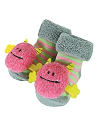 Stephan Baby Rattle Socks, Pink Monsters, 3-12 Months