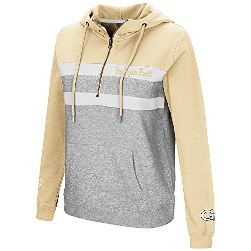 Colosseum Womens Georgia Tech Yellow Jackets Quarter Zip Pull-over Hoodie - ()