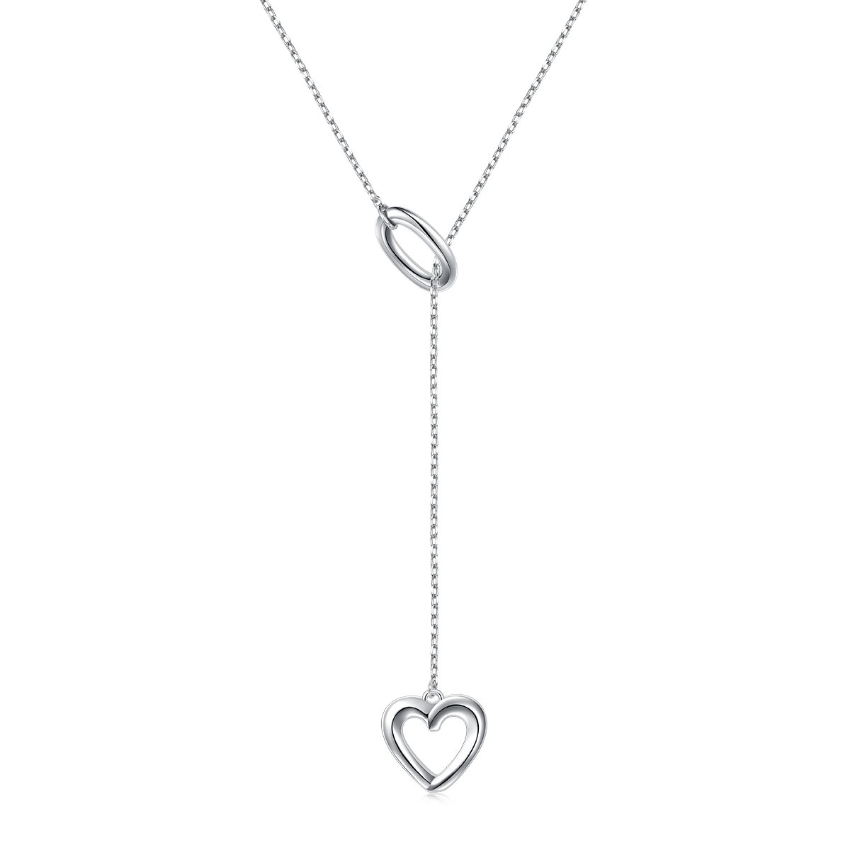 LINLIN FINE JEWELRY Long Necklace 925 Sterling Silver Adjustable Oval Heart Y Shaped Lariat Necklace for Women, 20 + 2 inches