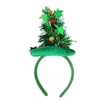 BESTOYARD Weihnachtsbaum Hut Haarreif mit Stern Lametta und Kugeln ...
