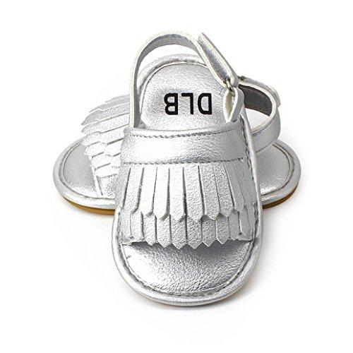 2cf409a9 Tefamoer Zapatos Sandalias Bebe de borla pequeño Princesa Walkers Niñas  Niños plateado