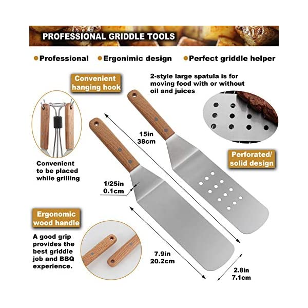 Romanticist 8Pcs Accessori per Grill Kit Attrezzi per Barbecue - Set di Spatole per Uso Professionale in Ccciaio Inox… 2 spesavip