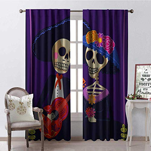 Hengshu Halloween Skull Couple Waterproof Window Curtain Decorative Curtains for Living Room W72 x L84]()