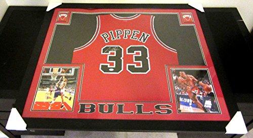 Scottie Pippen Signed Chicago Bulls 35x43 Custom Framed Jersey (JSA COA)