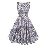 Floral Print Dress Sleeveless Tunic Vintage Belt Elegant Dresses 982 Gray L