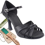 Women's Ballroom Dance Shoes Tango Wedding Salsa Latin Dance Shoes Black Satin Sera6721EBB Comfortable - Very Fine 2.5'' Heel 6.5 M US [Bundle of 5]
