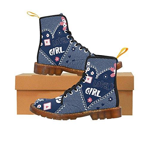 Interessante Stampa Cuore Con Fiori Bella Ragazza Stampa Stringate Stivali Per Le Donne