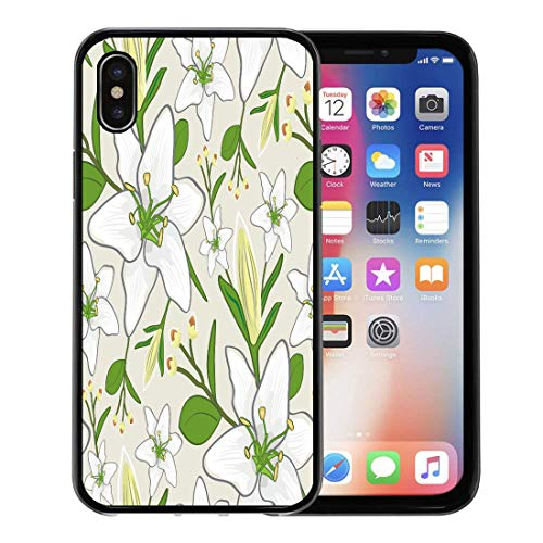 Emvency Phone Case for Apple iPhone Xs Case/iPhone X Case,Detail White Modern Pattern Wall Abstract Antique Beautiful Death Soft Rubber Border Decorative, Black