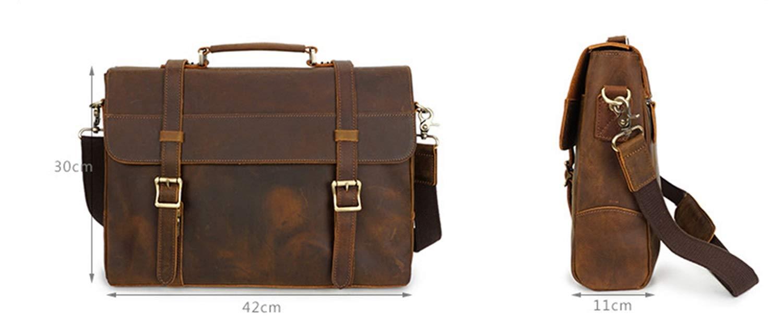 YUKILO Large Capacity Mens Shoulder Crossbody Bag Genuine Leather Waterproof Briefcase Multi-Function Business Tote Handbag for Male Color : Light Brown