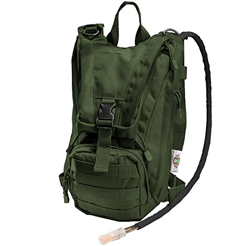 Hydration Pack with 2.5L Bladder and 2 Additional Pockets. Tough Military Style Backpack From Monkey Paks Is Perfect for Hiking, Biking, Running, Walking and More. (OD Green)