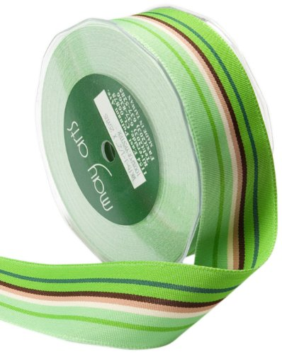(May Arts 5/8-Inch Wide Ribbon, Green and Brown Grosgrain)