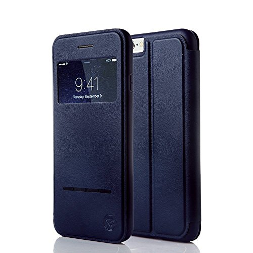 Nouske Smart Touch Case S-View Window Flip Cover/Magnetic Closure/Stand/TPU bumper/360 Protection for 5.5 inch iPhone 6 Plus/iPhone 6S Plus, Navy Blue ()