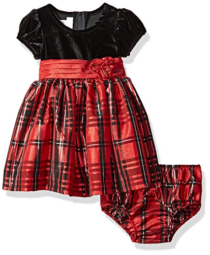 Bonnie Baby Baby Girls Taffeta Plaid Party Dress, Red/Black, 3-6 Months