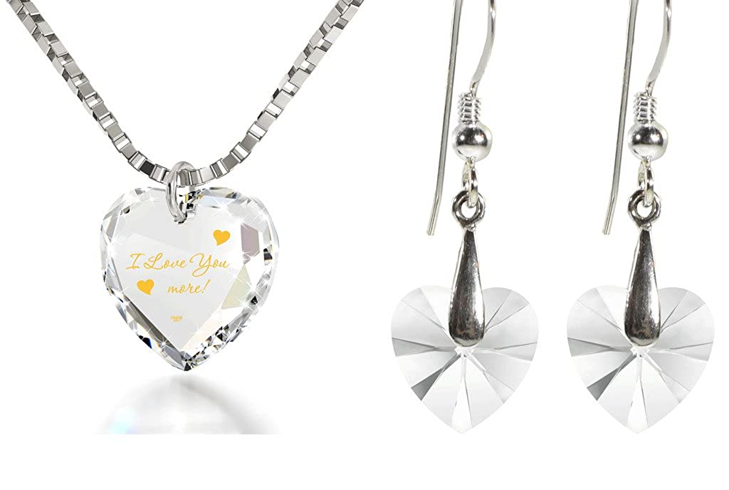 Kristall Tiny Heart Jewelry Set 24 K Gold in I Love you more Halskette und Drop Ohrringe, 45,7 cm Kette