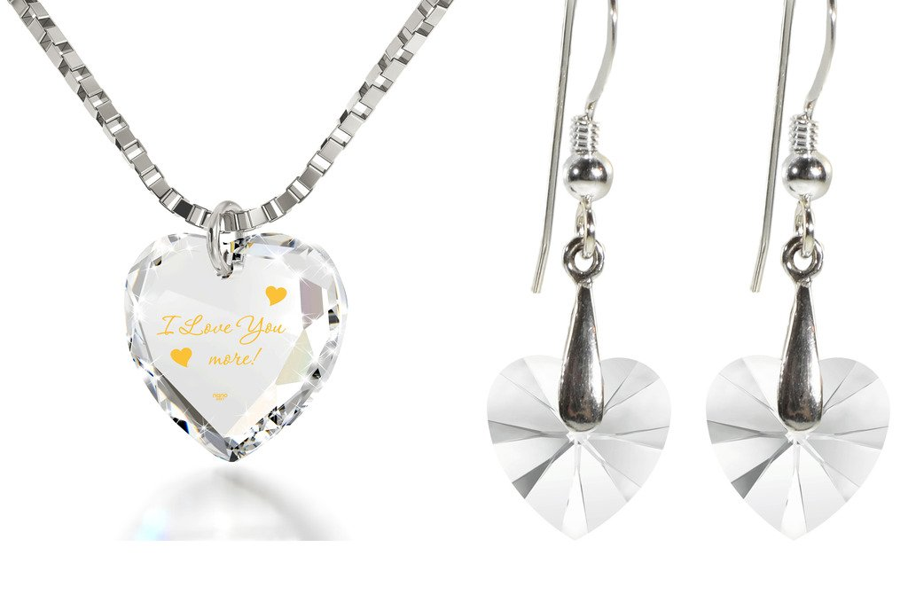 Crystal Tiny Heart Jewelry Set Gold Inscribed I Love You More Necklace and Drop Earrings, 18'' 925 Silver
