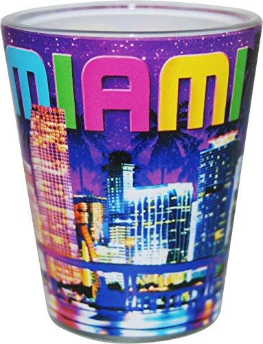 Miami Florida Purple Night Skyline Shot Glass ctm Miami Glass