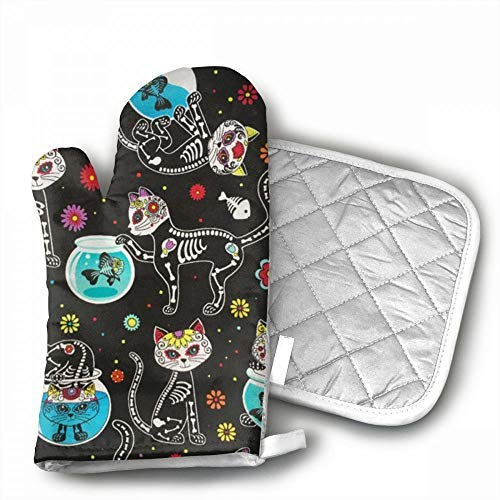 Sugar Skulls Cats Oven Mitts,Professional Heat Resistant Microwave BBQ Oven Insulation Thickening Cotton Gloves Baking Pot Mitts With Soft Inner Lining For Kitchen Cooking ()