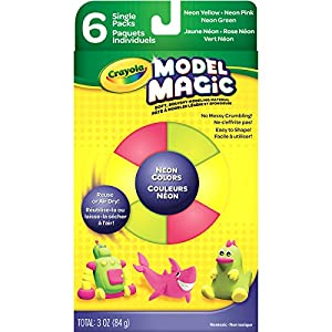 Crayola Model Magic, Neon Colors (Pink, Green, Yellow) 6 Count 0.5 Ounce Packs No-Mess, Soft, Squishy, Lightweight Modeling Material for Kids 4 & Up, Easy to Paint and Decorate, Air Dries Smooth
