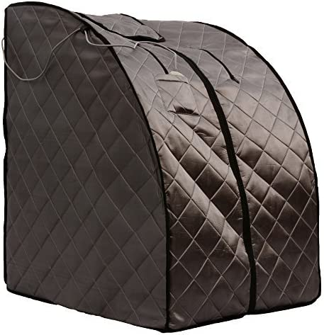 ZONEMEL Portable Far Infrared One Person Sauna, Home Spa Detox Therapy, Heated Floor Pad, Upgrade Chair Black